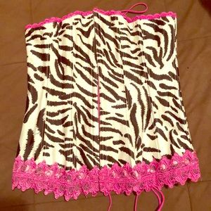 Cute zebra print bustier (fuschia, black & white)
